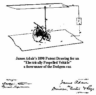"James Adair's 1890 patent drawing for an ""Electrically Propelled Vehicle"""